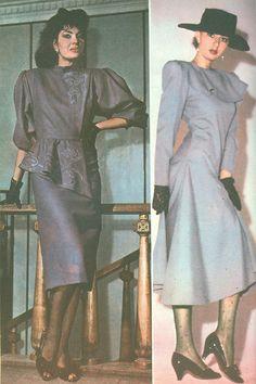 Moda Anului 1989 in Romania - 80s Shoes, High Class, 80s Fashion, Maternity Fashion, 1980s, Fashion Inspiration, Ready To Wear, Anna, Art Deco
