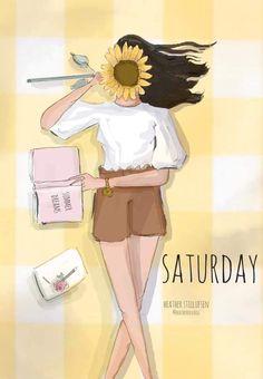 Saturday Hello Weekend, Weekend Days, Collage, Art Deco Posters, Beautiful Artwork, Beautiful Drawings, Cute Designs, Female Art, Fine Art Paper