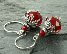 Red Earrings Red Christmas Earrings by ForTheCrossJewelry on Etsy
