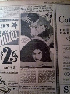MAY 17, 1934 NEWSPAPER PAGE #CN82-THEDA BARA, QUEEN OF VAMPIRES