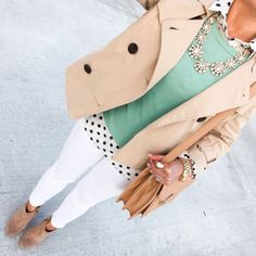 This is a pretty outfit with the mint pullover white jeans and pinky beige jacket, boots & handbag.