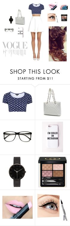 """""""Sem título #46"""" by marga-pina ❤ liked on Polyvore featuring Topshop, Chanel, ZeroUV, Missguided, I Love Ugly, Gucci, Fiebiger, Luminess Air and Alice + Olivia"""