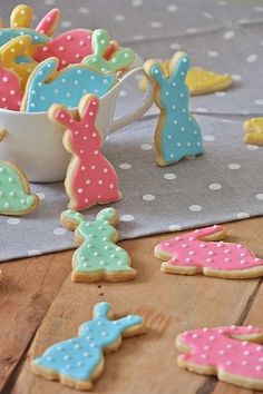 Polka Dot Decorated Easter Bunny Sugar Cookies.