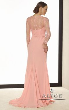 V Neckline Long Sleeve Gown by Alyce style number 29693