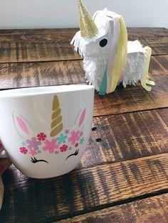 Unicorn Mug  16 oz Stoneware Mug  Unicorn Flower Crown