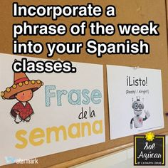 Go beyond the textbook vocab to make language learning relevant with common Spanish phrases. 40 different phrases for all year long. By Sol Azúcar bulletin board Spanish Classroom Activities, Preschool Spanish, Spanish Teaching Resources, Bilingual Classroom, Spanish Language Learning, Spanish Classroom Decor, Bilingual Education, Teacher Resources, Teaching Ideas