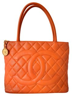Chanel Orange Quilted Caviar Leather Gold Medallion Tote Handbag