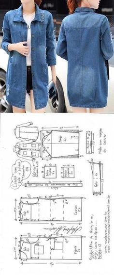 Casaco com pala e bolsos externos   DIY - molde, corte e costura - Marlene Mukai