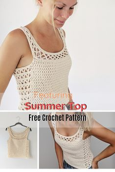 The Perfect Crocheted Summer Top - Knit And Crochet Daily - Crochet Top Patterns Débardeurs Au Crochet, Gilet Crochet, Mode Crochet, Crochet Woman, Easy Crochet, Crochet Granny, Crochet Ideas, Crochet Tank Tops, Crochet Summer Tops
