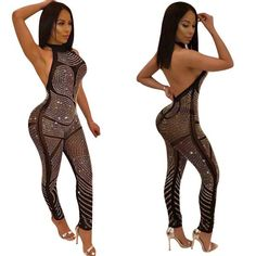 In Love Halter Diamond Jumpsuit - Diplomatic Xchange Sexy Outfits, Sexy Dresses, Cute Outfits, Fashion Outfits, Femmes Les Plus Sexy, Long Jumpsuits, Moda Fitness, Beautiful Black Women, Sexy Women