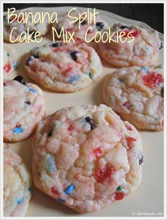 Banana Split Cake Mix Cookies at Jam Hands... I think Im obsessed with Cake mix cookies... they are so simple and make alot. Perfect for BBQs, Parties, ETC