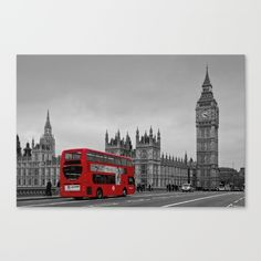 Black and white image of Big Ben with a red London bus on Westminster Bridge, London, England<br/> <br/> photography, black and white...