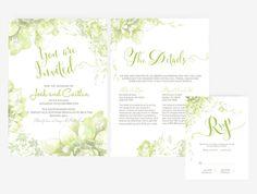 DIY Word Template garden Wedding Invitation Stationary Set | Editable Word Template | Invitation and RSVP | floral Green