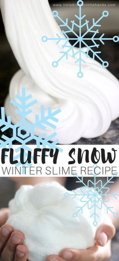 No actual snow needed with our awesome homemade fluffy snow slime recipe is perfect for an indoor winter activity. Making fluffy winter slime is easy. Winter Crafts For Kids, Winter Fun, Winter Theme, Kids Crafts, Snow Crafts, Preschool Winter, Winter Snow, Snow Theme, Summer Fun
