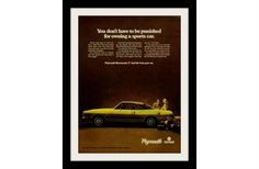 1968 Plymouth Barracuda Yellow Car Ad, Vintage Advertisement Print