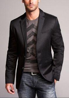Simple grey shirt under a black blazer, skinny denim and boots men's fashion tshirt sport coat jeans Chanel Fall 2013 Mode Masculine, Sharp Dressed Man, Well Dressed Men, Neutral T Shirts, Vetements Shoes, T-shirt Und Jeans, Mode Man, Fashion Mode, Fashion Wear