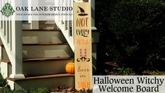 How to Stencil a Halloween Witchy Welcome Board Stencil Patterns, Stencil Designs, Welcome Boards, Porch Signs, Fall Flowers, Handmade Home Decor, Autumn Home, Warm Colors, Witches