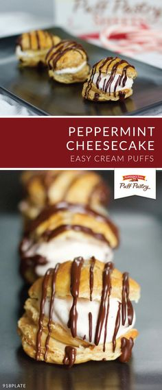 Filled with festive flavor, this recipe for Peppermint Cheesecake Cream Puffs is sure to be a hit for seasonal celebrations this Christmas. Made with Pepperidge Farm® Puff Pastry Sheets, these minty bites will become your new favorite dessert. Puff Pastry Dough, Puff Pastry Sheets, Puff Pastry Recipes, Puff Pastries, Choux Pastry, Cream Puff Dessert, Cream Puff Recipe, Pepperidge Farm Puff Pastry, Peppermint Cheesecake
