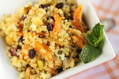 Quinoa Salad with Pistachios, Currants and Dried Apricots Kissed with Orange, Rice Vinegar and Sesame Oil