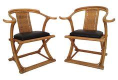 One Kings Lane - Honoring the East - Rattan Horseshoe Chairs, Pair