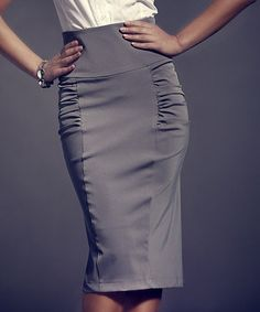 (Also in black) FIGL Gray Ruched High-Waist Pencil Skirt - Women  Plus sizes! Cool, slimming office wear (or date night!) Over 50% off this week!