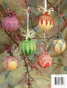 free crocheted ornament cover patterns | Crochet Springtime Satin Ball Ornament Cover Pattern Christmas ...