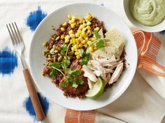 Get Quinoa Bowl with Chicken and Avocado Cream Recipe from Food Network. Avocado cream sounds good - sub queso for parm. Food Network Recipes, Food Processor Recipes, Cooking Recipes, Kitchen Recipes, Healthy Snacks, Healthy Eating, Healthy Recipes, Healty Lunches, Easy Recipes