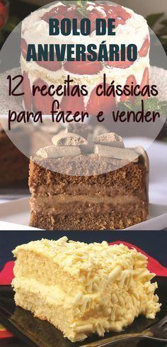 """Bolo de aniversário: aprenda 12 receitas clássicas para fazer e vender Como fazer bolos de aniversário para vender, onde, como e quanto cobrar. Vender bolo de aniversário dá dinheiro?"""", essa é uma pergunta comum de quem pensa em fazer renda extra usando os recursos que tem em casa. Leia mais Sweet Recipes, Cake Recipes, Baker Cake, Cake Decorating Techniques, Cake Boss, Sweet Cakes, Chocolate Recipes, Love Food, Cupcake Cakes"""