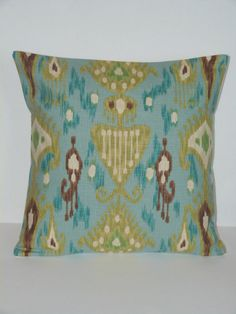 Throw Pillow Decorative Pillow Accent Pillow Cushion Covers Aqua Turquoise Brown Green and Beige Ikat 16 x 16