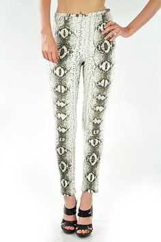 Slither On Over Tapered Snake Print Pants