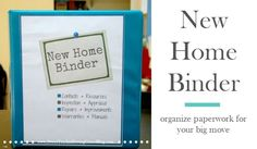 Prepping for a move? Just bought a house? Keep everything organized with this New Home Binder. Moving Out Checklist, Moving Tips, Ice Cubes, Organizing Paperwork, Organizing Life, Household Notebook, Home Binder, Budgeting 101, Home Management
