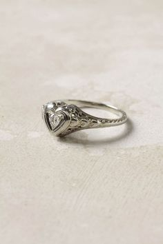 Deco Heart Ring: Estate one of a kind sweetheart ring. 18K white gold, 0.1ctw diamond $1200. #Ring #Heart #Diamond_Ring
