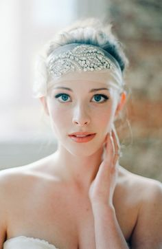 Rhinestone, tulle and satin headpiece