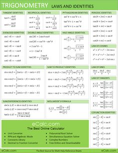 Trigonometry Laws and Identities Cheat Sheet. It includes tangent pythagorean periodic even odd double angle half angle and even the product to sum identities. Great handout for teachers and students. Math Teacher, Math Classroom, Teaching Math, Algebra Basica, Math Sheets, Maths Solutions, Math Notes, Math Formulas, Love Math