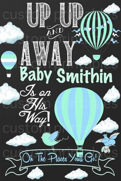 Oh the Places You'll go hot air balloon Baby by CustomPrintablesNY, $10.00