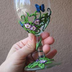 Polymer clay wine glass:
