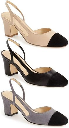 "Ivanka Trump ""Liah"" Slingback Block-Heel Pumps in nude, black and grey, $124.95 (*THE* perfect Chanel dupes <3)"