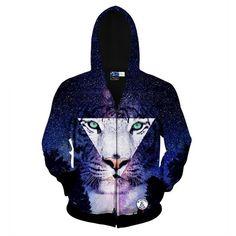 Mens White Tiger Face Sleeveless Zipper Hoodie