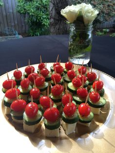 Greek sticks! So easy! Perfect appetizer for backyard bbq! Everybody loves them! Grape tomatoes, mini cucumbers, and cubed havarti, drizzled with seasoned olive oil. Yum!
