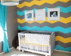 3 color chevron wall, instead use mint, silver and gold? for Chels Chevron wall.
