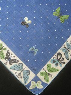 Vintage Hankie Tammis Keefe Butterflies H012