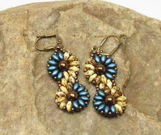 SUPERDUO SPIRAL FLOWER Dangle Earrings-Pearl Coat Petrol-Beige Picasso-Antique Bronze-Dangle Earrings-Boho Earrings-Spiral-Beaded Earrings