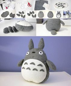 Totoro plush - do it yourself. Or maybe I will - Diy Selber Machen - - Totoro plush - do it yourself. Or maybe I will - Diy Selber Machen Cute Crafts, Felt Crafts, Fabric Crafts, Sewing Crafts, Diy And Crafts, Arts And Crafts, Handmade Crafts, Totoro, Plushie Patterns