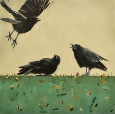 "Art From My Easel...by Jacqueline McIntyre: Trio of Crows ""IN COMING"" (SOLD)"