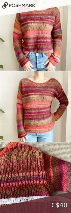 Berretti Made in Italy Wool Blend Pink Sweater M Berretti Made in Italy Wool Blend Pink Sweater M Pink green purple striped sweater 🌱 Great preloved condition Berretti Sweaters Crew & Scoop Necks Cotton Sweater, Pink Sweater, Cashmere Sweaters, White Oversized Sweater, Rainbow Sweater, Casual Sweaters, Striped Knit, Long Sleeve Sweater, American Apparel