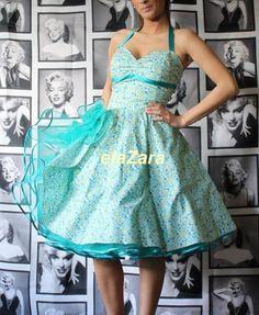 916adfba928f6c Kurze Kleider, 50er Kleider, Blaue Kleider, Vintage Kleider, Modische  Kleider, Pin