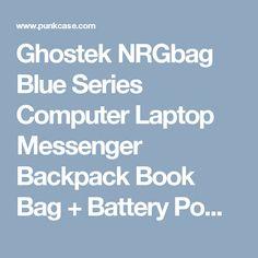 Ghostek NRGbag Blue Series Computer Laptop Messenger Backpack Book Bag +  Battery Power Bank  6edc73e89fb35