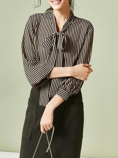 95c70a11800f49 Black Balloon Sleeve Stand Collar Polyester Stripes Blouse