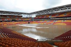 Lang Park It lies very close to the Brisbane River. As the river rose so did the water level on the pitch. Brisbane River, Football Stadiums, Event Management, Let Them Talk, Stuff To Do, Basketball Court, Park, Water, Sports