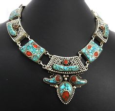 classic Nepali filigree design Turquoise gemstone brass choker necklace jewelry
